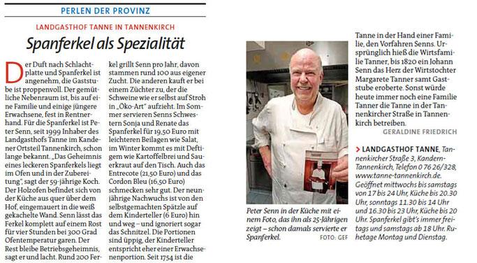 Zeitung der Sonntag, 25. November 2018 über Spanferkel-Essen in der Tanne