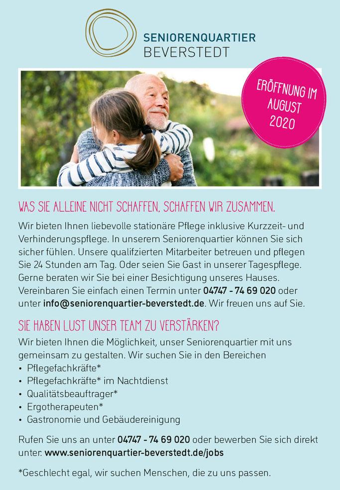 Stellenanzeigen Beverstedt, OHZ, ROW, Bremervörde, Zeven. Jobs und Berufe in der Altenpflege.