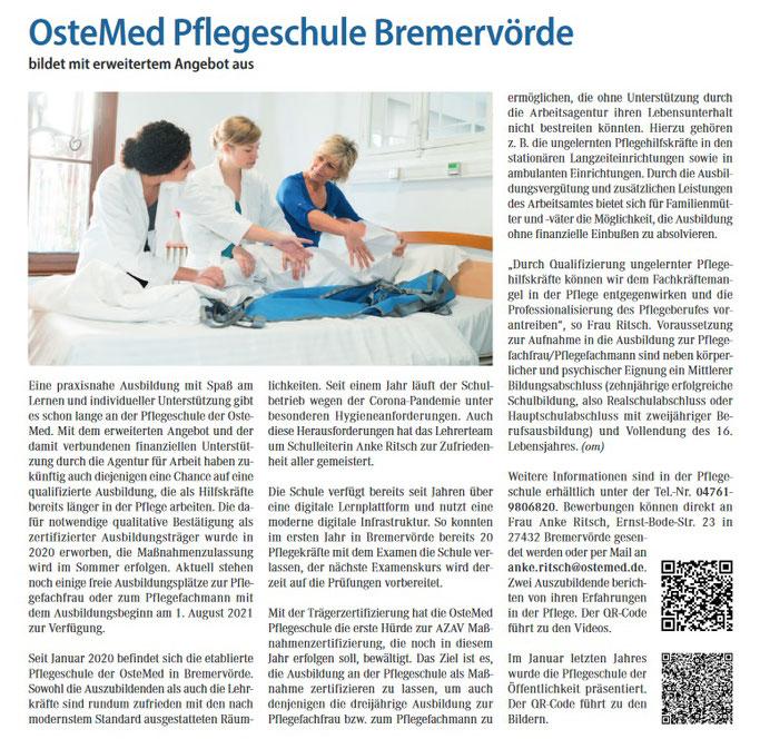 Ostemed Pflegeschule in Bremervörde. Ausbildung in Pflegeberufen.