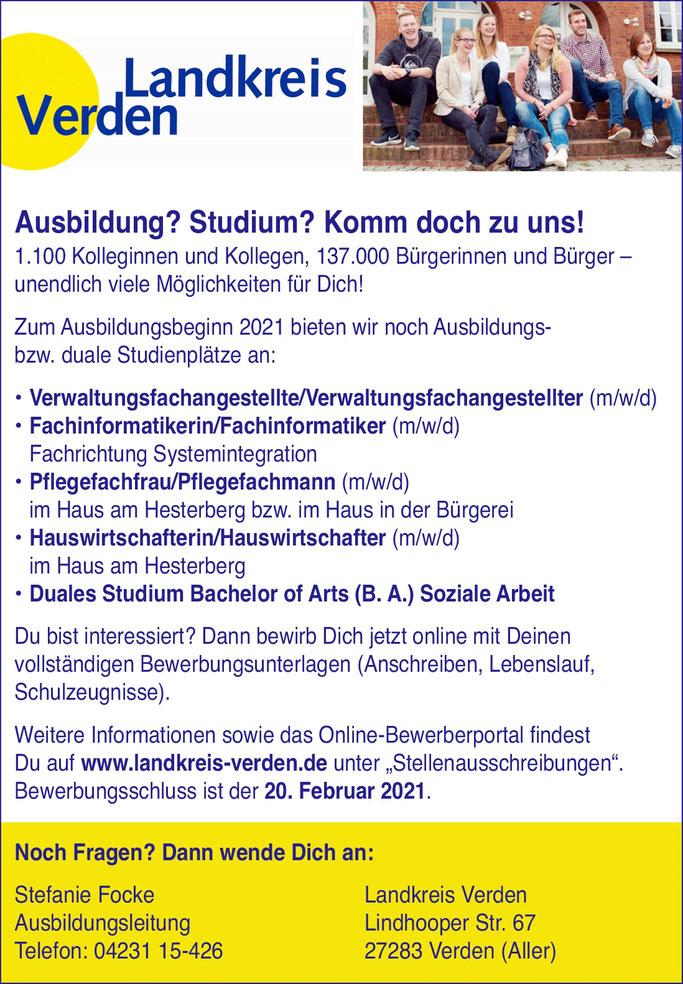 Ausbildung und / oder Studium:   Stellenanzeige vom Landkreis Verden