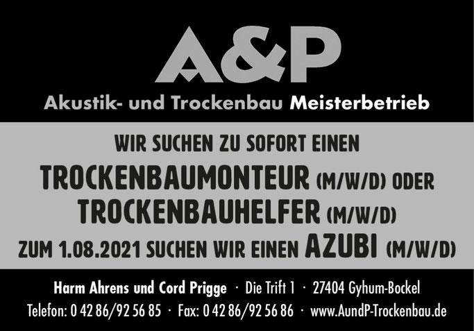 Azubi gesucht. Ausbildungsplatz 2021, A ud P trockenbau in Gyhum Bockel, ROW