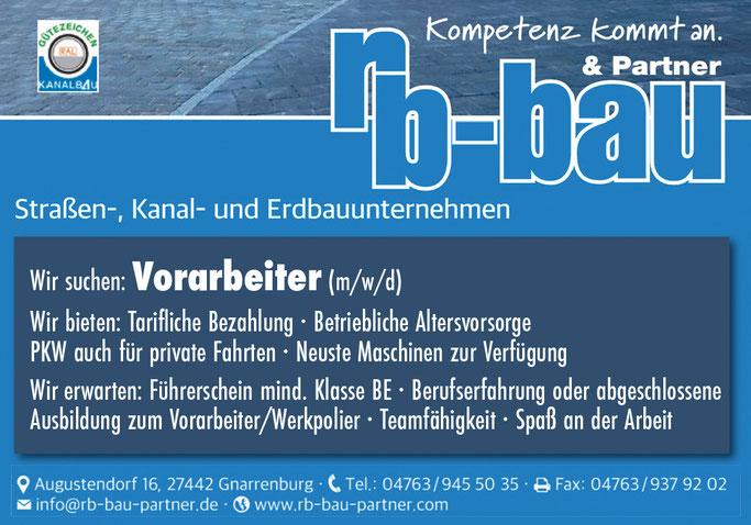 Polier, Vorarbeiter Straßenbau, Erdbau, Kanalbau. Stellenanzeige rb Bau Gnarrenburg