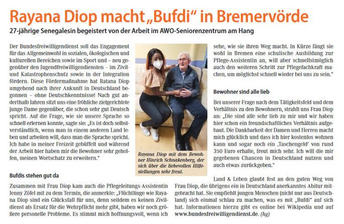 Bufdi Bremervörde, Diop, AWO Seniorenheim