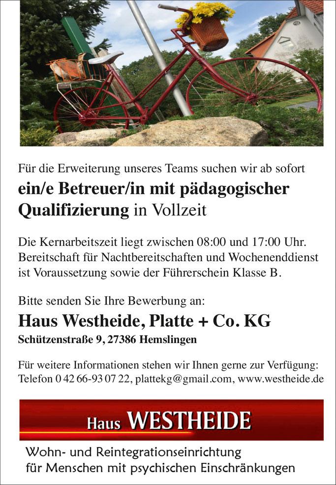 Stellenangebot für den Raum Rotenburg an der Wümme / Scheessel:  in Hemslingen