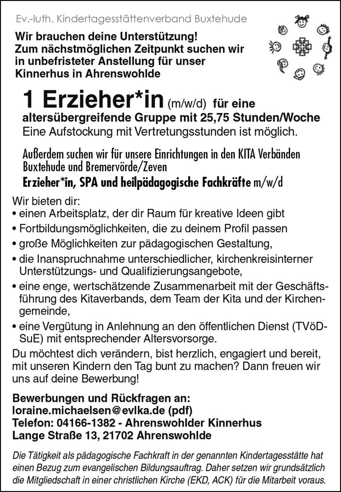 Ahrenswohlde Job Stellenanzeige im Land&Leben Stellenmarkt für die Regionen ROW, OHZ, Stade und umzu.