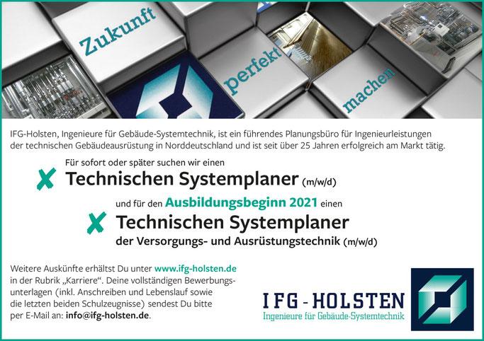IFG Holsten Scheessel:  Stellenangebot sowie Ausbildunsgplatz in Scheessel. Technischer Systemplaner / Technische Systemlpanerin  (m/w/d)