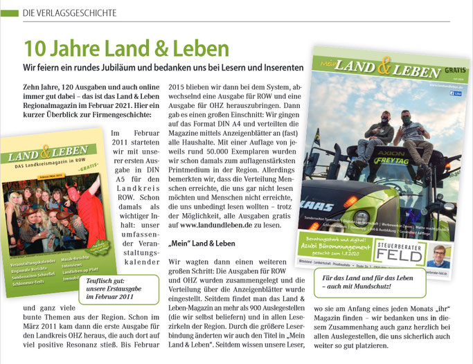 Regionalzeitung ROW und OHZ und BRV Land und Leben Magazin Zeitung