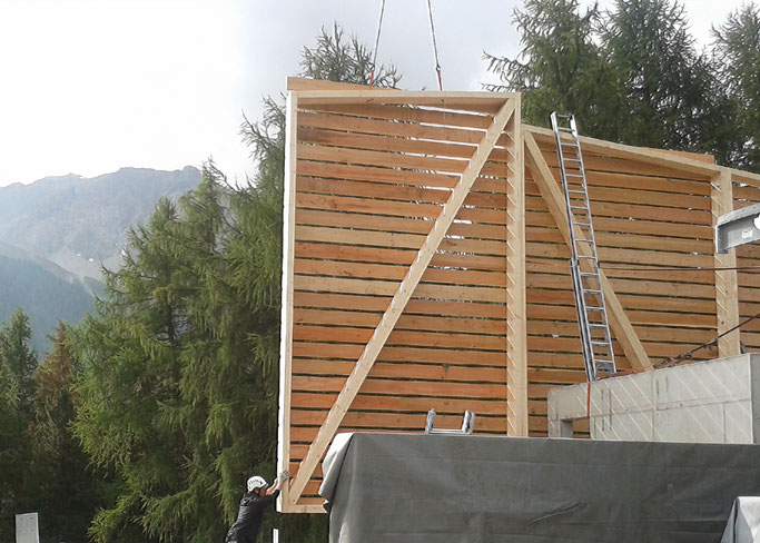Salzgeber Holzbau S-chanf | Salzgeber Marangun S-chanf | Holzbau | Marangun | Fassade | Holzfassade | Neubau | Elementbau