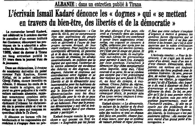 Burimi : Le Monde, e mërkurë, 4 prill 1990, f.3