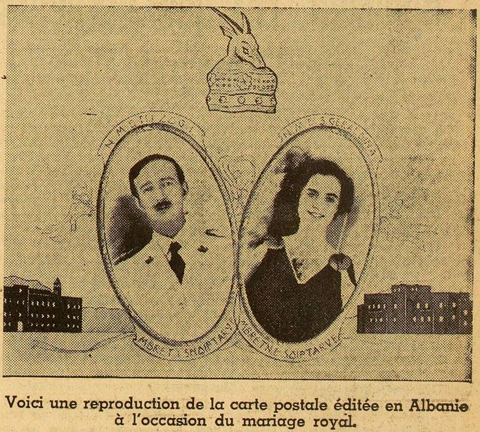 Ja një riprodhim i kartolinës botuar në Shqipëri me rastin e dasmës mbretërore – Burimi : gallica.bnf.fr / Bibliothèque nationale de France