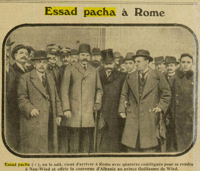 Esat Pasha dhe delegatët shqiptarë në Romë (Excelsior, 18 shkurt 1914, f.5) – Burimi : gallica.bnf.fr / Bibliothèque nationale de France