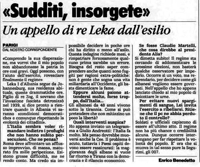 Burimi : La Stampa, 12 mars 1991, f.3
