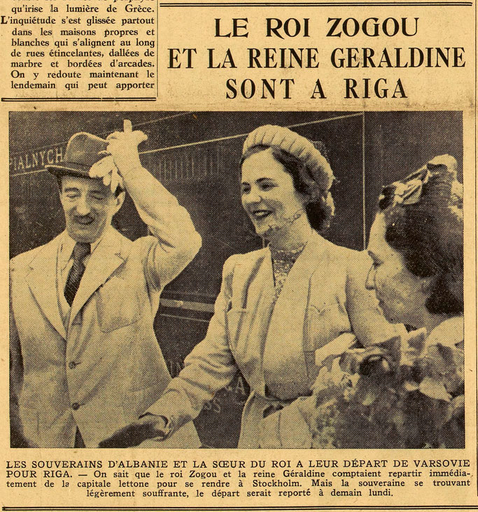 Sovranët e Shqipërisë dhe motra e mbretit gjatë largimit nga Varshava për në Riga - Burimi : gallica.bnf.fr / Bibliothèque nationale de France