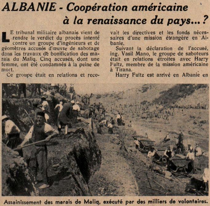 Pastrimi (kanalizimi) i kënetave të Maliqit nga mijëra vullnetarë – Burimi : gallica.bnf.fr / Bibliothèque nationale de France