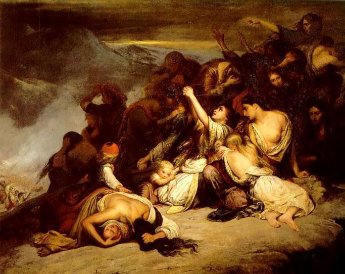Les femmes souliotes (1827) par Ary Scheffer  / Gratë suliote (1827) nga Ary Scheffer