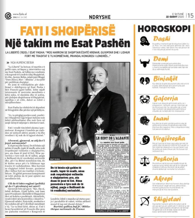 """Gazeta """"Fjala"""", e shtunë, 22 gusht 2020, f.15"""