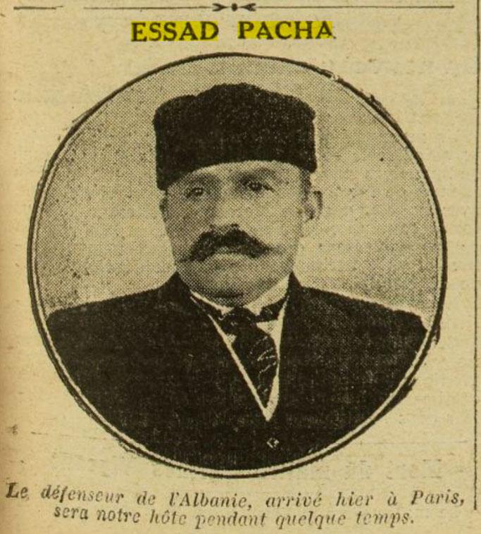 Esat Pashë Toptani në Paris (Excelsior, 3 prill 1916, f.3) - Burimi : gallica.bnf.fr / Bibliothèque nationale de France