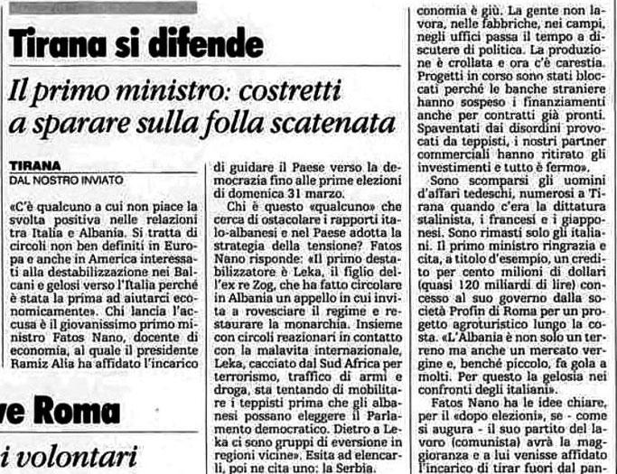 Burimi : La Stampa, e premte, 15 mars 1991, f.9
