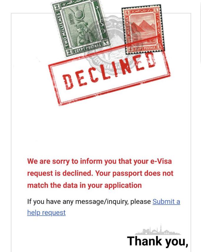 egypt e visa decline