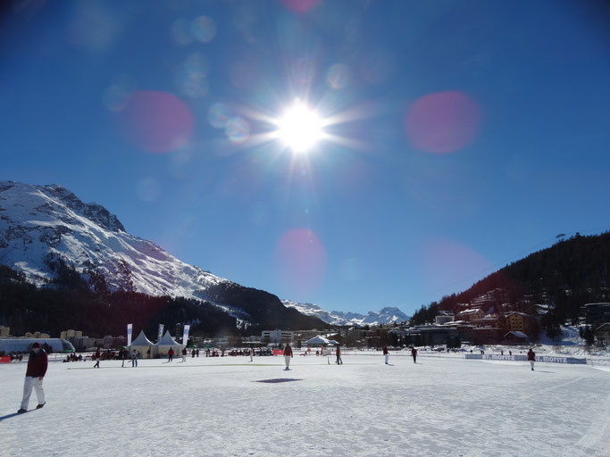 A view across the cricket field and the lake at Cricket on Ice 2019 (14-16.2.2019)