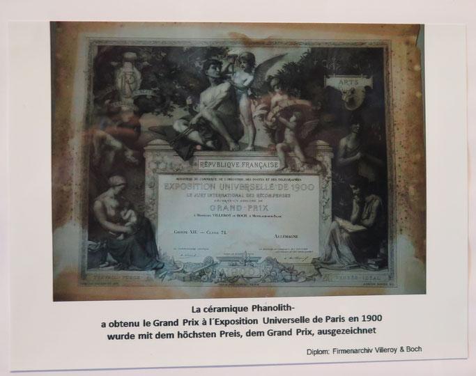 Grand Prix Weltausstellung Paris 1900 Jean Baptiste Stahl Phanolith Porzellan Relief Cameo Mettlach Saar Villeroy Boch