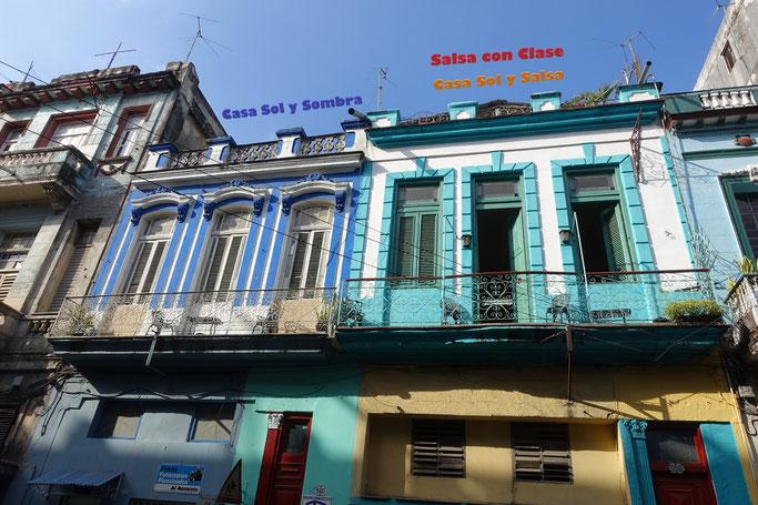 Facade of Salsa con Clase, Casa Sol y Salsa and Casa Sol y Sombra