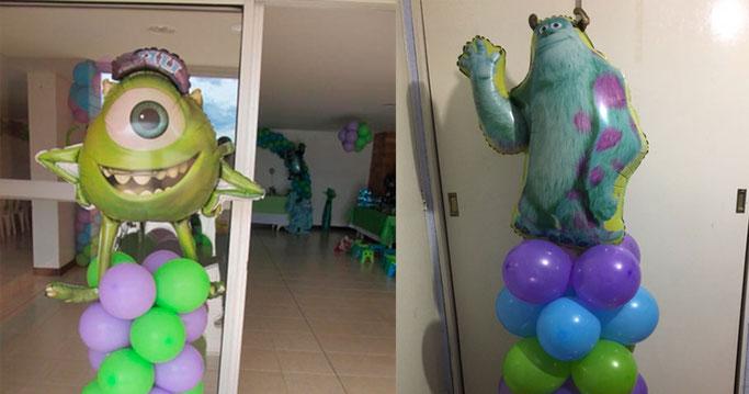decoracion de globos para fiesta de mosnters inc