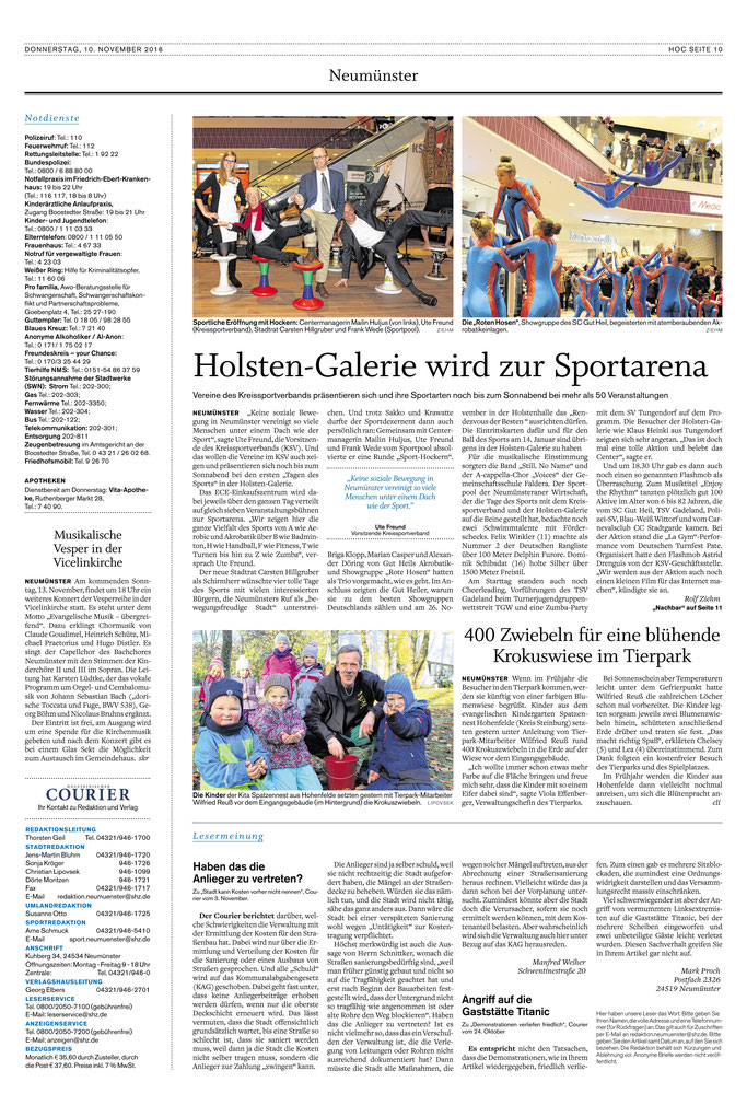 Tage des Sports 2016, Holsteinischer Courier vom 10.11.2016