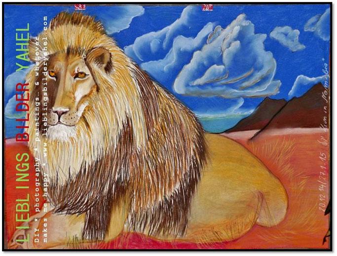 L I O N I N N A M I B I A  Farbige Pastellkreide auf Papier, 70x100cm ohne Rahmen  310,00€ zzgl. 6,90€ Versandkosten Versand innerhalb 3 Werktagen