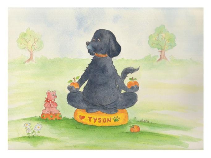 ein gemaltes Hundeportrait. Der Hund macht Yoga und hält zwei Äpfel in den Pfoten. Hund liebt Äpfel