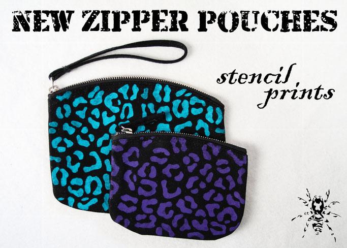New stencil print zipper pouches - Zebraspider DIY Anti-Fashion Blog