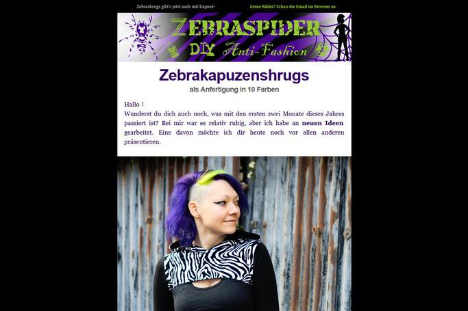 Warum du die Zebraspider Emails abonnieren solltest - Vorstellung Zebrakapuzenshrugs - Zebraspider DIY Anti-Fashion Blog
