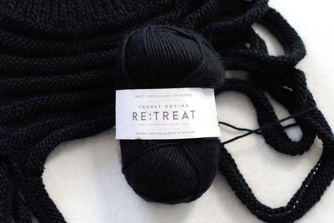 Needlework in progress - black yorkshire wool for vest - Zebraspider DIY Anti-Fashion Blog