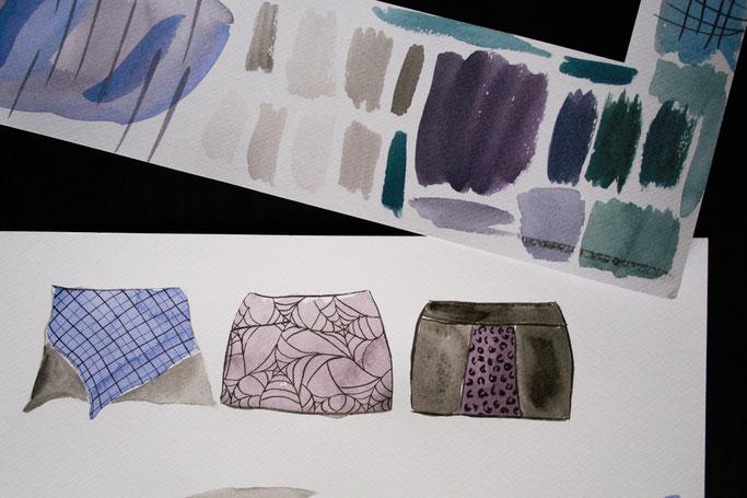 Von Mondphasen, Aquarellfarben und Stoffmustern - Testpapier und Rockdesigns - Zebraspider DIY Anti-Fashion Blog