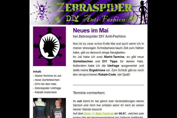 Warum du die Zebraspider Emails abonnieren solltest - zweite von 2014 - Zebraspider DIY Anti-Fashion Blog