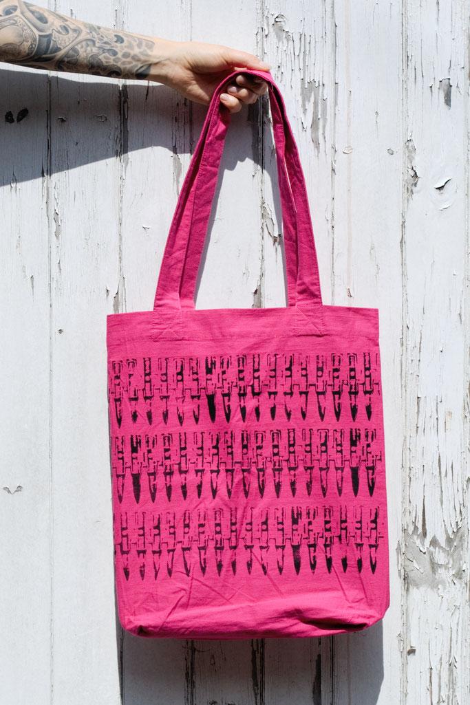 Endlich im Shop - vergessene Einzelstücke und Patronendrucke - Patronen Beutel Tasche Pink - Zebraspider DIY Anti-Fashion Blog