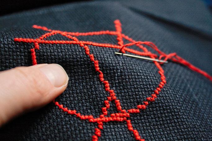 Anarcho-Kreuzstich - Sticken bleibt politisch - letzte Stiche - Zebraspider DIY Anti-Fashion Blog