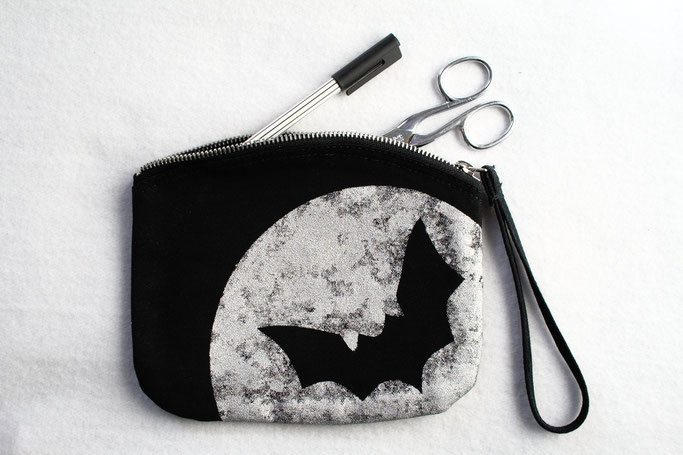 New stencil print zipper pouches - silver moon bat - Zebraspider DIY Anti-Fashion Blog
