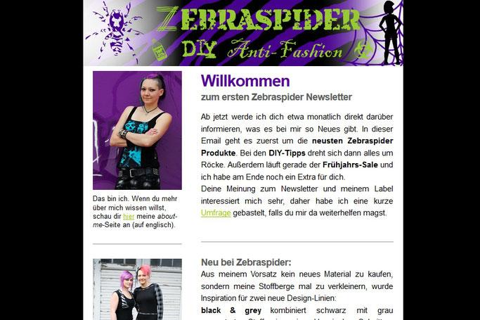 Warum du die Zebraspider Emails abonnieren solltest - erste von 2014 - Zebraspider DIY Anti-Fashion Blog