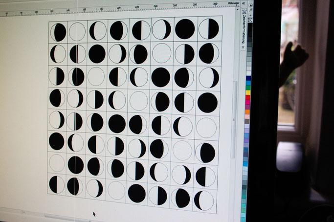 Von Mondphasen, Aquarellfarben und Stoffmustern - Puzzle am PC - Zebraspider DIY Anti-Fashion Blog