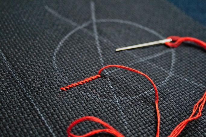 Anarcho-Kreuzstich - Sticken bleibt politisch - erste Reihe Sticknadel - Zebraspider DIY Anti-Fashion Blog