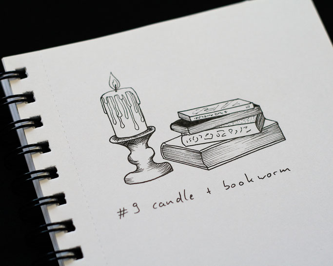 How Inktober 2019 went so far - 9 candle and wook worm (books) - Zebraspider DIY Anti-Fashion Blog