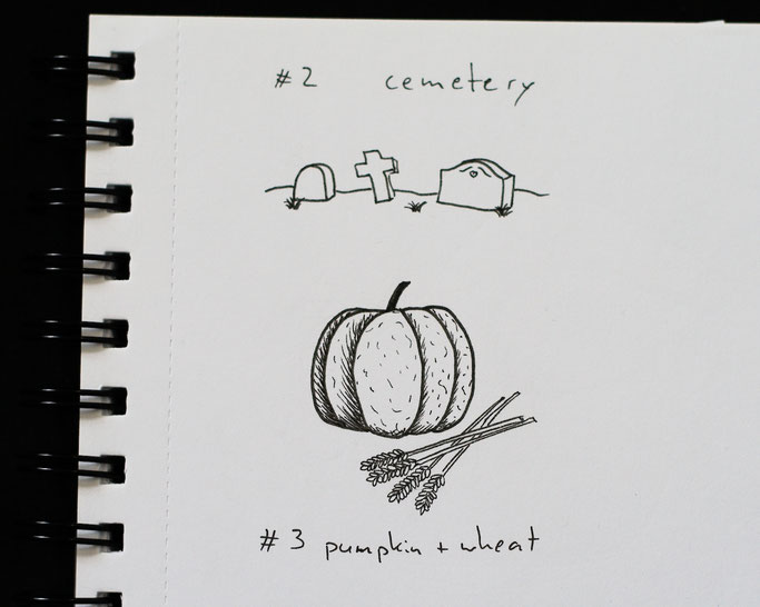 How Inktober 2019 went so far - 2 cemetery, 3 pumpkin and wheat - Zebraspider DIY Anti-Fashion Blog