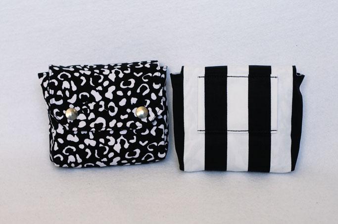 4 Aufträge und eine eigene Gürteltasche - klein mit Leomuster und Streifen in schwarz weiß - Zebraspider DIY Anti-Fashion Blog