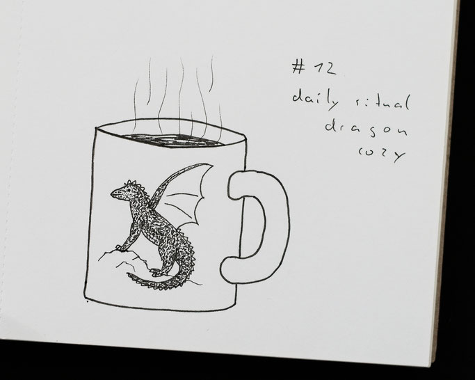 How Inktober 2019 went so far - 12 cosy daily ritual: tea from dragon mug - Zebraspider DIY Anti-Fashion Blog