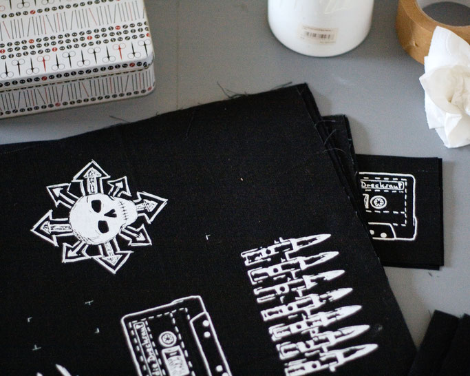 What's new with the patches? - freshly printed bullets, mixtape and chaos skull restock - Zebraspider DIY Anti-Fashion Blog