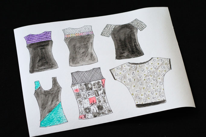 Tank, Batwing and Longsleeve - new Tops in the Shop - watercolour sketch - Zebraspider DIY Anti-Fashion Blog