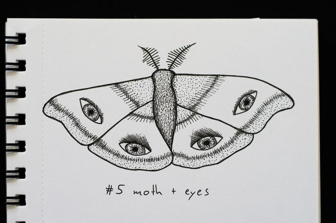 How Inktober 2019 went so far - 5 moth with eyes - Zebraspider DIY Anti-Fashion Blog