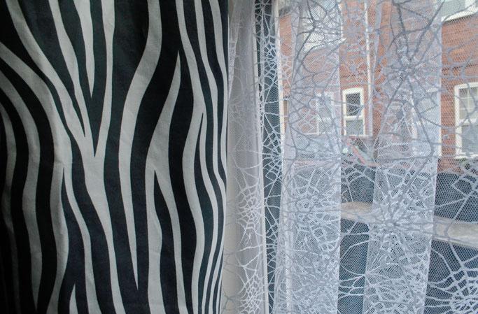 Zebravorhänge, Spinnennetz und Zimmerpflanzen - Zebramuster + Netzgardinen - Zebraspider DIY Anti-Fashion Blog