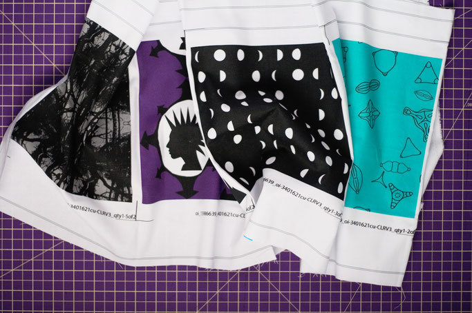 Neue und alte Muster auf Stoff - Probedrucke auf Baumwolle - Zebraspider DIY Anti-Fashion Blog